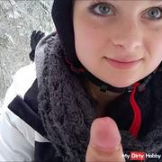 litle girl want sperm near to the ski lift