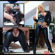 Sexy Leather Fickbitch fucked by her leather pants by