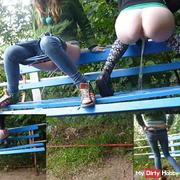 We make the park bench wet