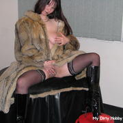 in fur coat