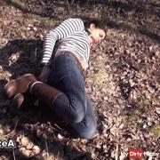 Hogtie Auf Schmutzigen Waldboden
