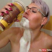 Milk games in shower