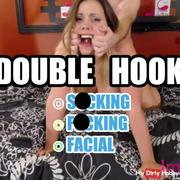 Rough double fin**r fishhooking and unapproved cum in mouth!