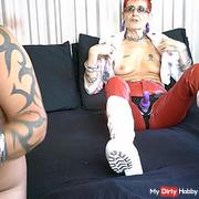 Red Leather Pants Suck My str*p On
