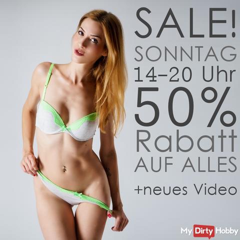 SALE- 50% Rabatt heute noch bis 20 Uhr!