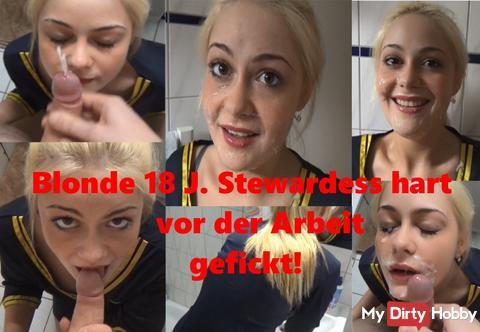 Jetzt online exklusiv Porno: Blonde 18 J. Stewardess hart vor der Arbeit gefickt!