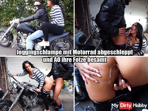 New dirty video now online !!!!!! Jogging bitch towed with a motorcycle and AO inseminated her cunt