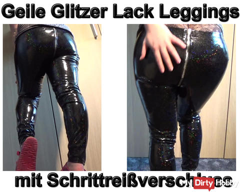 New video: Horny glitter patent leggings with crotch zipper