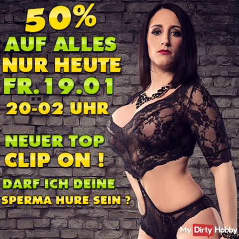 TODAY FR. 19.01.2018! 50% OFF EVERYTHING FROM 8 PM - 2 PM IN THE EARLY! ALL MY VIDEOS REDUCED BY 50% + NEW TOP VIDEO ONLINE! THE MEEEGAAAA HAMMER !!! CHARGING IT PAYS VERY;) TODAY ON FR. 19.01 OF 8 PM - 2 PM IN THE EARLY;)