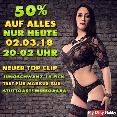 TODAY FR. 02.03.2018! 50% OFF EVERYTHING FROM 8 PM - 2 PM IN THE EARLY! + 1 NEW TOP CLIP ONLINE! THE ABSOLUTE OBERHAMMER !!! HIT TO IT PAYS VERY;) TODAY ON FR. 2:03 FROM 8 PM - 2 PM IN THE EARLY;)