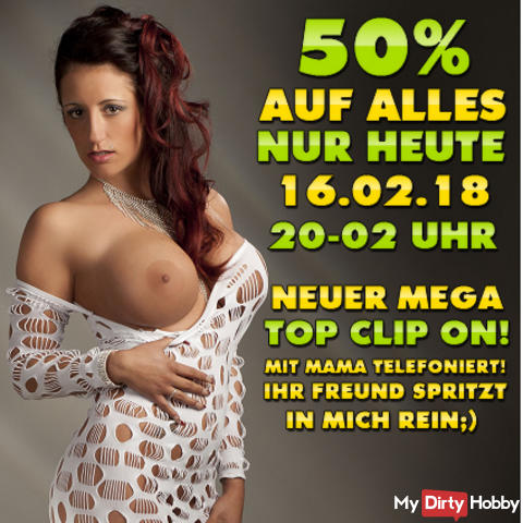 TODAY FR. 16.02.2018! 50% OFF EVERYTHING FROM 8 PM - 2 PM IN THE EARLY! + 1 NEW TOP CLIP ONLINE! THE ABSOLUTE OBERHAMMER !!! HIT TO IT PAYS VERY;) TODAY ON FR. 16.02 FROM 8 PM - 2 PM IN THE EARLY;)