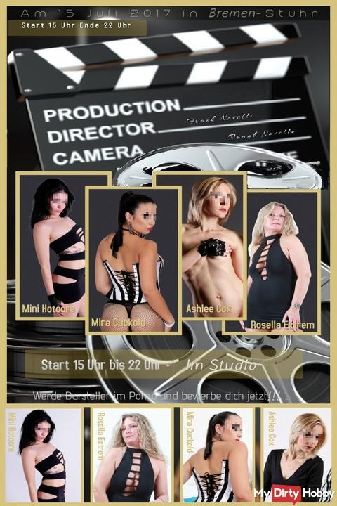Pornocasting und Film-Produktion, mit 4 versauten Top-Girls, am 15.07.17!