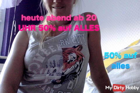from 20 clock again 50% on all VIDEOS for you