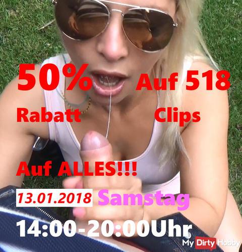 Jetzt 50% Rabatt AUF ALLES von 14-20:00 am 13.01.2018