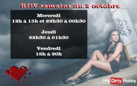 Planning semaine 2 octobre