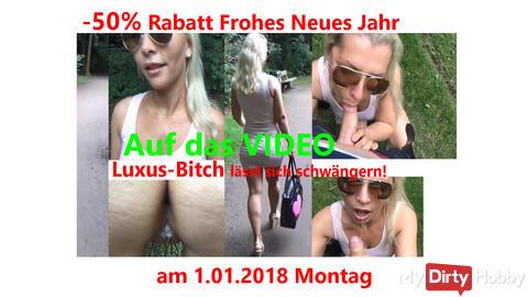 Jetzt 50% Rabatt am 1.01.2018auf das Video: Luxusbitch im Stadtpark geschwängert! Creampie AO!