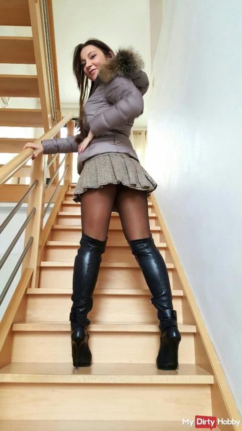 my new moncler downjacket with my gml leather overknee boots. just enjoy