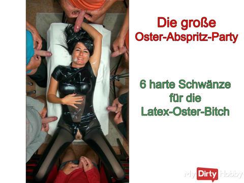 NEUES VIDEO ONLINE: Die Oster-Sperma-Schlacht, 7 harte Schwänze für die Latex-Schlampe!!!
