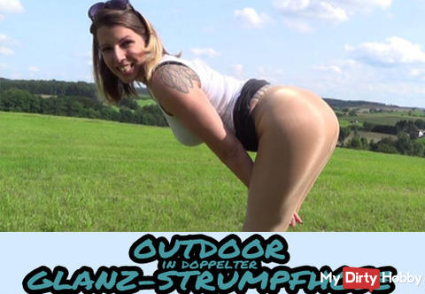 Neues Video - OUTDOOR in doppelter GLANZ-STRUMPFHOSE