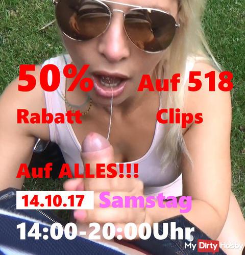Noch 60min 50% Rabatt AUF ALLES von 14-20 Uhr am 14.10.2017 Samstag! AUF 518 CLIPS!!!+ 3746 Bilder!