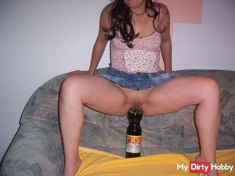 how far a Coke bottle fits into a tight pussy
