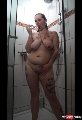In the shower with my glass dildo