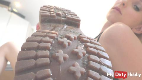 Lick my boots clean a spit Delicious slave task