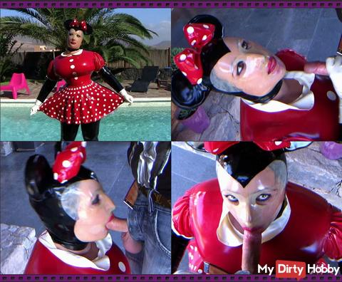 Latex Minnie Mouse in Blowjob paradise
