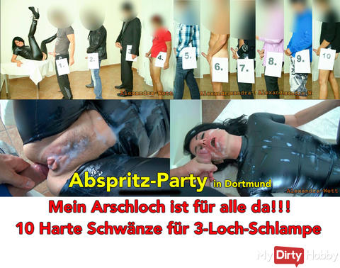 Abspritz Party in Dortmund. 10 thick cocks for latex bitch