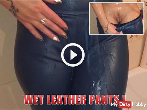 Wet leather pants