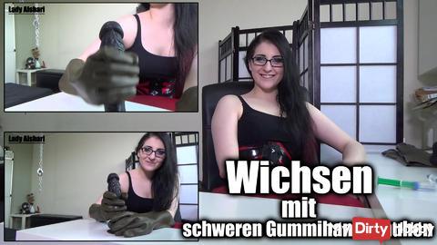 Masturbation with heavy rubber gloves