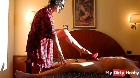 Dark glasses, Kimono, dominatrix high heels and whip (Teaser)