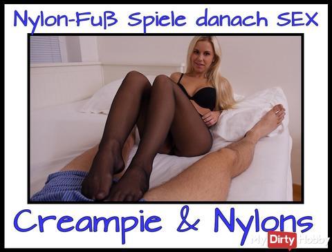 Nylon Fick + Nylon Footjob + Creampie