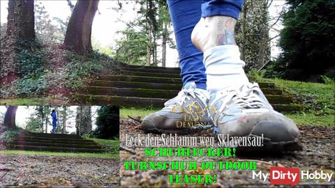 Shoe Yummy! Leak the mud away, slaves!   By Lady_Demona