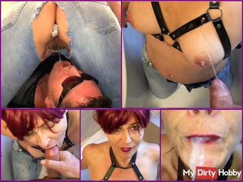 Jeans and tits piss with anal plug