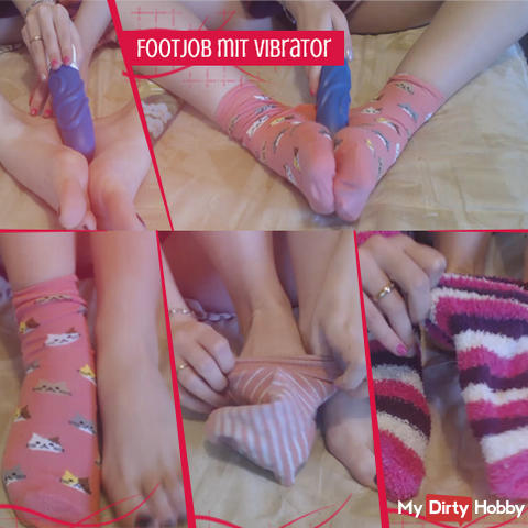 Footjob with vibrator