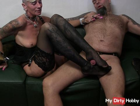 Footjob with my slave