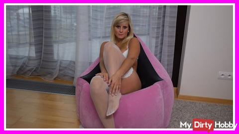 On my Pinke` s air sofa ;-)