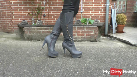 Kneel down in front of my favorite boots