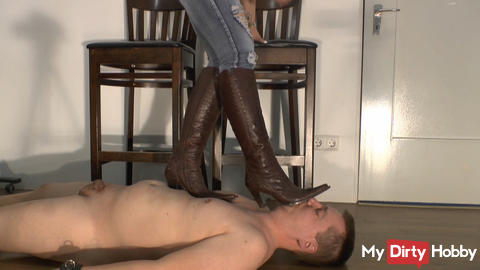trampling with cowboy boots