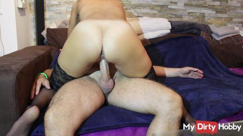 horny riding and tasty creampie
