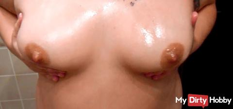 oiled and massaged the tits