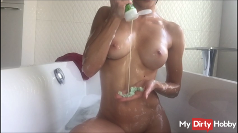 Sexy bath with plenty of soap