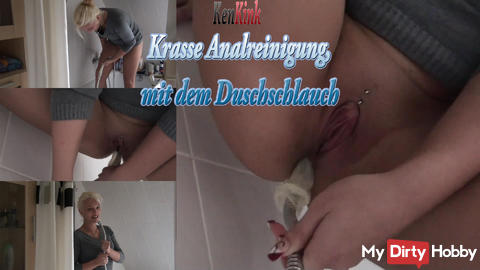 Crass Anal cleaning with the showertube!