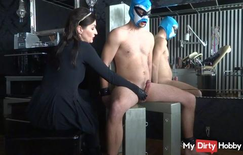 High jumping sperm on the bondage chair