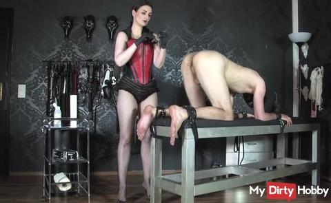 The anal slave, bondage on the bench Part 2
