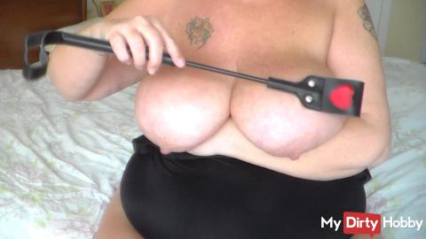 Spanking Her own Big Tits