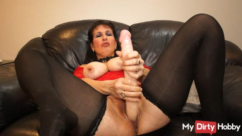 See how big my pussy is while I fuck a huge dildo