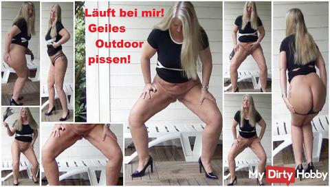 I am running! piss horny outdoor!