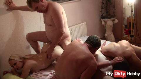 Horny Gangbang Party with my girlfriend.